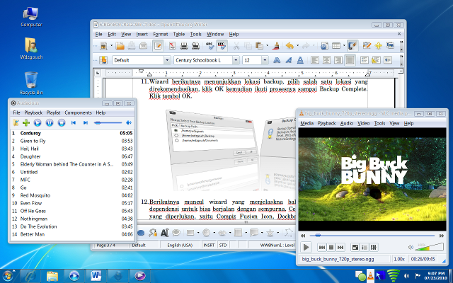 Desktop GNOME BlankOn 6.0 rasa Windows 7