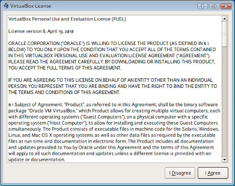 Wizard VirtualBox License