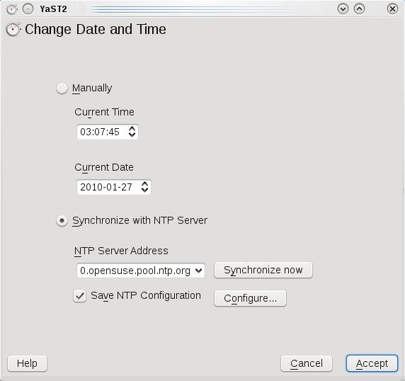 Gambar 2 : Tampilan konfigurasi NTP client