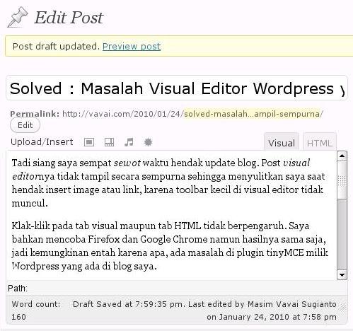 Gambar 1 : Tampilan Visual Editor yang tidak Sempurna