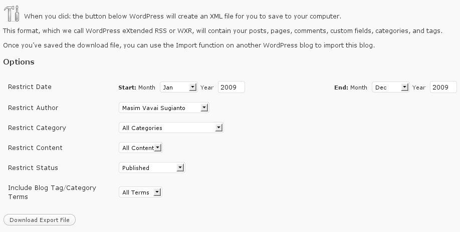 Tampilan WordPress Advance Export. Klik untuk resolusi lebih besar.